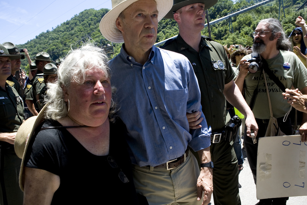 NASA climatologist James Hansen (center) gets arrested at West Virginia anti-coal protest yesterday.