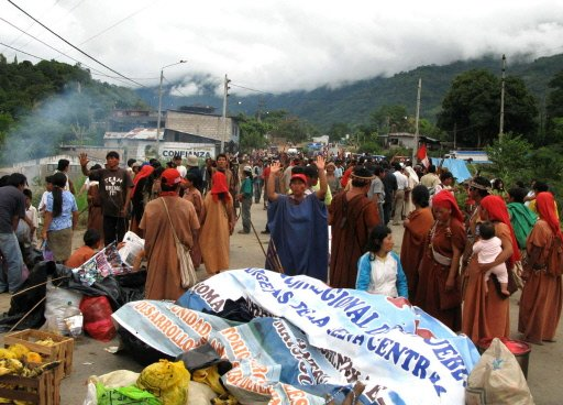 Indians of the central Peruvian jungle block the highway in Andahuaylas, east of Lima