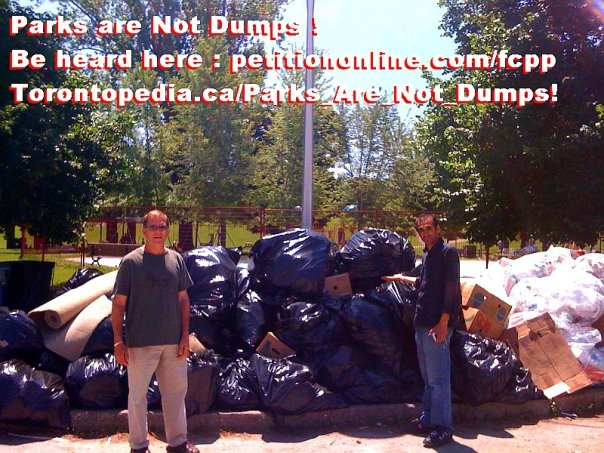 A Parks Are Not Dumps! information picket in late June