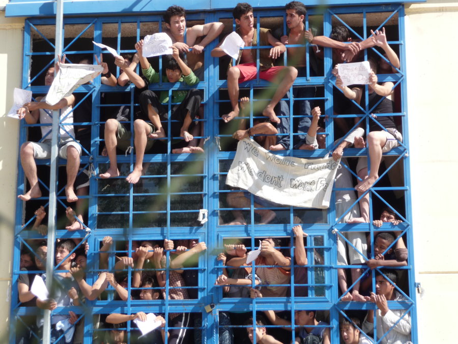 "About 150 migrant children left to survive on their own in Greece have gone on a hunger strike to protest their imprisonment on a Greek island where conditions have been described as ""abominable"" by one European human rights body."