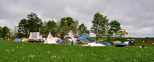 A protest camp in May