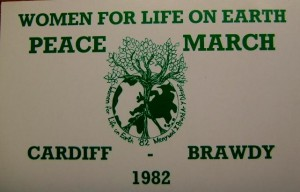 A postcard that was associated with a march to the Greenham Common Peace Camp, from Cardiff