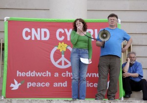 CND banner at a 2008 demonstration in Cardiff