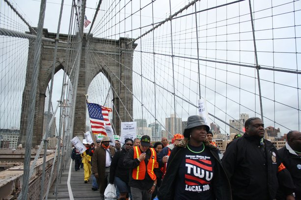 Several hundred Transit Workers Union members and their supporters in New York marched across the Brooklyn Bridge to City Hall Wednesday to protest the Metropolitan Transportation Authority's refusal to implement a new contract established by arbitrators earlier this year.
