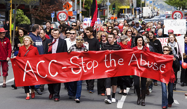 Hundreds of people protested on Monday in New Zealand, saying proposed changes to the Accident Compensation Corporation (ACC) that would cut funding for therapy will cause victims even more trauma.