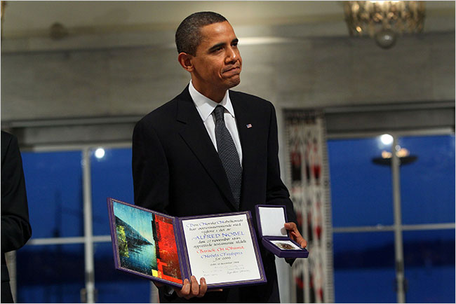 Obama receiving the Nobel Prize (via NYTimes, by Doug Mills).