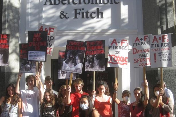 About a dozen teen protesters briefly shut down an Abercrombie & Fitch store ...