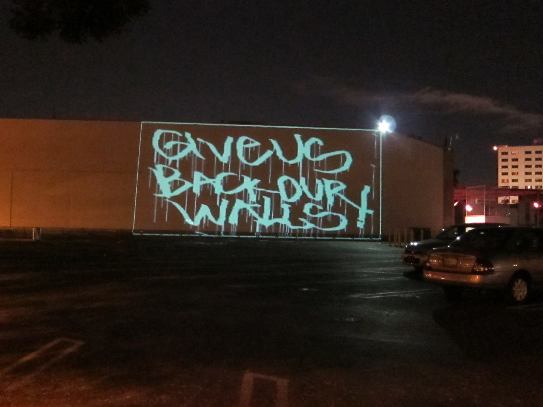 Wall Art With Lights la street artists stage laser-light protest of censorship on