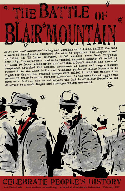 battle of blair mountain The second largest armed insurrection in american history, only surpassed by the american civil war, culminated in the battle of blair mountain, near the town of logan, w va, during the.