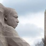 The new MLK memorial and the Washington Monument.
