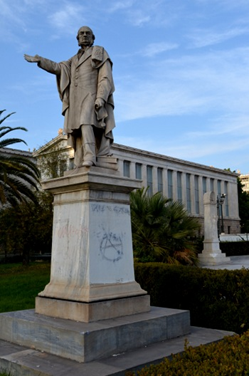 A statue in front of the National Library of Greece. (Photo: WagingNonViolence.org)