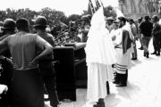 Ku Klux Klan rally on the Louisiana State Capitol steps in Baton Rouge in the 1960s. State Library of Louisiana Historic Photograph Collection.