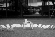 An installation art piece that was set up in Speaker's Corner on Human Rights Day last year to represent the 170 who have been executed from 1999 - 2010. There was a blank canvas card for each person, and a list of names that we have (we don't know all the names), with a little speaker reading out the names.