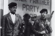 Huey Newton and Bobby Steale, via Wikimedia.