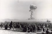 "The ""Dog"" nuclear explosion during Operation Buster-Jangle at the Nevada Test Site on November 1, 1951. It was the first U.S. nuclear field exercise conducted on land; troops shown are a mere 6 miles from the blast."