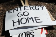 Signs from a protest against Entergy, the company that owns Vermont Yankee, on March 22. By James Ennis, via Flickr.