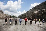 Protesters walking onto Patriot Coal's Hobet mine in West Virginia's Lincoln County. Photo via Mountain Mobilization.