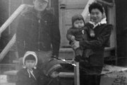 Three-year-old Elizabeth Toyomi Okayama (front left), with her sister, father, mother and brother at Heart Mountain Concentration Camp in Wyoming, 1943. Used with permission.