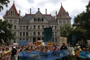Thousands of fracktivists protested outside Governor Cuomo's office in Albany on Monday. Photo by 350.org via Flickr.