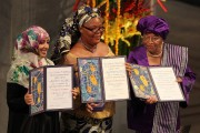 Yemeni activist Tawakkol Karman, Liberian activist Leymah Gbowee and Liberian President Ellen Johnson Sirleaf receiving the Nobel Peace Prize in 2011. Photo by Harry Wad.