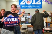 Dozens of veterans and activists storm President Obama's campaign office in Oakland on Thursday, August 16, demanding Bradley Manning's freedom. From the Bradley Manning Support Network, via Flickr.
