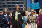 "Sister Simone Campbell of ""Nuns On The Bus"" speaking in lower Manhattan at the Whitehall / South Ferry terminal on September 24. Photo by Thomas Altfather Good."
