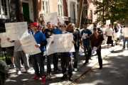 Counter-protesters were hired to intimidate NYU's Student Labor Action Movement during a solidarity protest with striking healthcare workers. (Facebook/SLAM)
