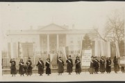 Suffragists picketing in front of the White House in 1917. (Harris & Ewing/Library of Congress)