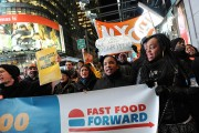 Labor rally at New York's Times Square, including fast food workers, iron workers, carpenters and others, on December 6. (Flickr/©Stephanie Keith)