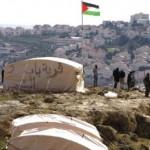 The Bab al-Shams encampment, overlooking the nearby Israeli settlement. (Bab al-Shams Facebook page)