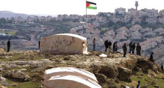 The Bab al-Shams encampment, overlooking a nearby Israeli settlement. (Bab al-Shams Facebook page)