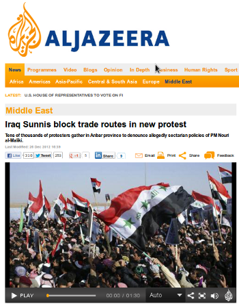 Al Jazeera coverage strengthens wave of Iraqi protest