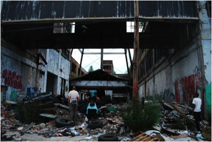 The abandoned Packard Plant stands in ruins that span for a half mile on Detroit's East Side. (WNV/Vanessa Zettler)