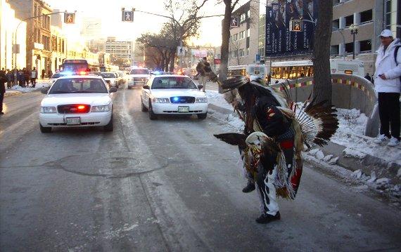 Idle No More protest in Winnipeg on Dec. 31, 2012. (WNV/Matt Sheedy)