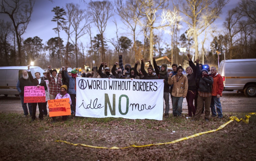 Residents, organizers and supporters of Houston's East End gathered in Diboll, Texas earlier this month to protest tar sands extraction in solidarity with Idle No More. (Tar Sands Blockade)