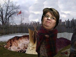 Satirical collage image of Chief Theresa Spence that appeared on a conservative Canadian blog. (©Blazing Cat Fur)