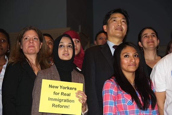 Members of the newly-formed coalition New Yorkers for Real Immigration Reform gathered at Judson Memorial Church in Manhattan to announce a campaign to push for immigration reform, as well as a mass mobilization in Washington, D.C. (WNV/Laurie Smolenski)