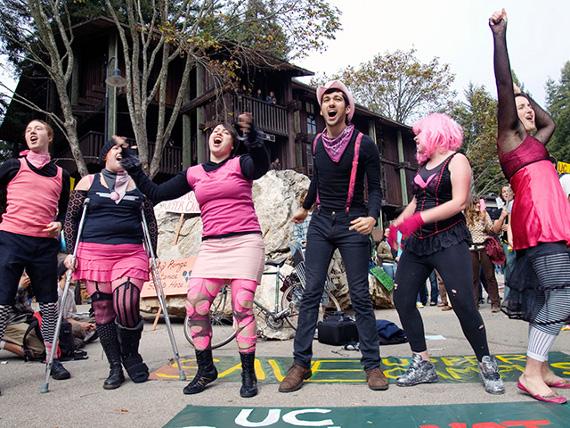 The Radical Cheerleaders in action at UC Santa Cruz's Baytree Plaza on Nov. 7, 2007. (Santa Cruz IMC/~Bradley)
