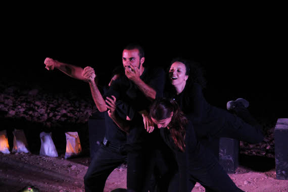 Freedom Theatre Performance at Khan al-Ahmar. (Left in Focus/Bryan MacCormack)