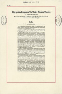 First page of the Voting Rights Act of 1965. (Wikipedia)