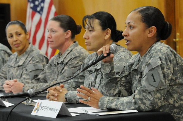 "U.S. Army officers conduct a panel on the theme of ""Women Serving in Combat"" at Camp Liberty, Iraq, Wednesday, March 16, 2011. (U.S. Army/Sgt. Jennifer Sardam)"