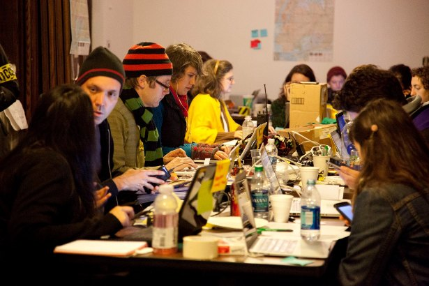 Phone bankers and dispatchers at Occupy Sandy's hub at 520 Clinton Ave. in Brooklyn. (Occupy Sandy Facebook Page/Erin O'Brien)
