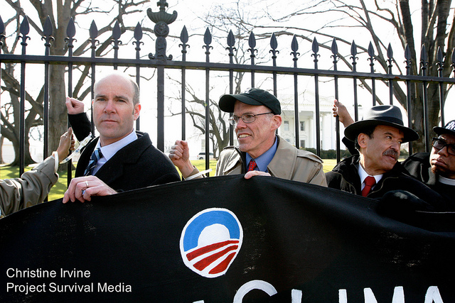 From left to right: Sierra Club Executive Director Michael Brune, 350.org co-founder Bill McKibben, El Puente President Luis Garden Acosta and Hip Hop Caucus President Rev. Lennox Yearwood, Jr.