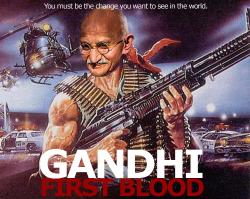 Representation of Gandhi from the pro-gun blog Everyday No Days Off. (© Everyday No Days Off)