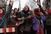 Students protested tuition increase at a March 5 demonstration in Montreal. (WNV/Zach Bell)