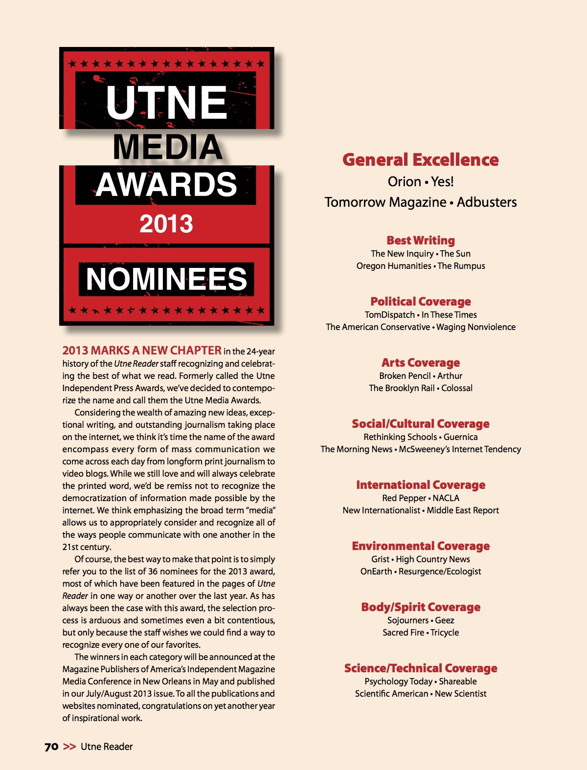 2013 Utne Media Awards nominees