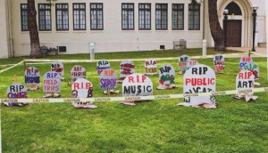 Graveyard in protest of budget cuts at John Muir High school in Pasadena, Calif. (Flickr/Jerome T)