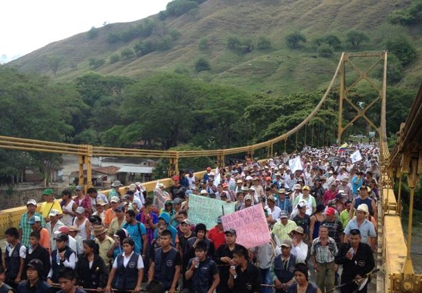 Cafeteros and indigenous marchers cross a bridge over the Cacua River on February 25. (Twitter/Jorge Gómez Diputado)