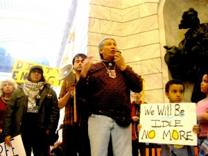 Francois Paulette speaking at Utah State Capitol.