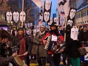 """A """"protestival"""" in Ljubljana. (WNV/Jang Man)"""